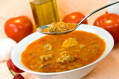Stew-goulash soup -with red bell pepper and cubes Stock Photography
