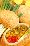 Stew In Bread Bowl Royalty Free Stock Image