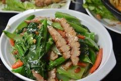Fried Jewl Pork Kale Royalty Free Stock Photo