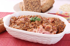 Stew of lentils with meat Stock Images
