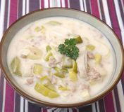 Stew of meat, leek and cheese royalty free stock image