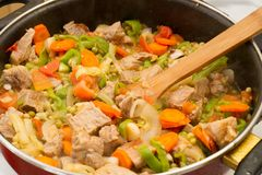Stew meat in the pan. Stock Photography