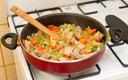 Stew meat in the pan. Royalty Free Stock Photo
