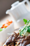 Stew meat, vegetable salad Royalty Free Stock Photos
