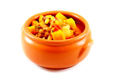 Stew of meat and vegetables in a Clay bowl Stock Photo