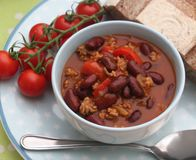 Stew of minced meat and beans stock photo