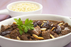Stew Moroccan Lamb Tagine with Dates and Almonds Stock Images