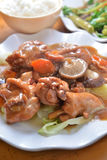 Stew pork knuckle. Stew braised pork Knuckle mushroom Stock Photography