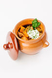 Stew with potatoes in a clay pot Royalty Free Stock Images