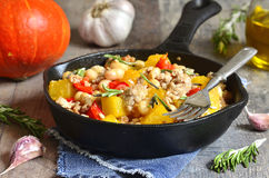 Stew from pumpkin,beans and ground meat with rosemary. Royalty Free Stock Images