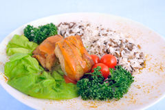 Stew with rice, cherry tomatoes and lettuce. Stew with rice, red cherry tomatoes and lettuce Stock Photography