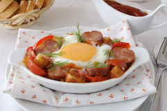 Stew with sausage and egg Royalty Free Stock Photo
