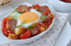 Stew with sausage and egg Stock Photo