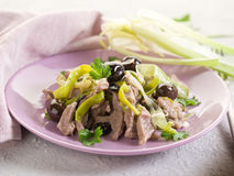 Stew veal wtih leek and olives Stock Image