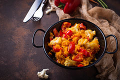 Stew vegetable in pan. Selective focus Stock Photos