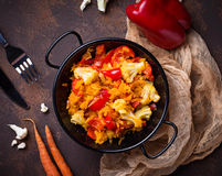 Stew vegetable in pan. Selective focus Royalty Free Stock Photo