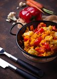 Stew vegetable in pan. Stew vegetable in a pan. Selective focus Royalty Free Stock Photography