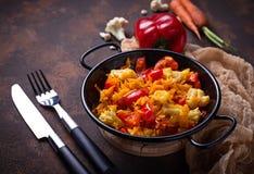 Stew vegetable in pan. Stew vegetable in a pan. Selective focus Stock Image