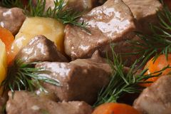 Stew with vegetables and dill close-up. background horizontal Royalty Free Stock Image