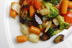 Stew vegetables on plate Royalty Free Stock Photos