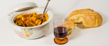 Stew, whine and bread 2 Stock Photos