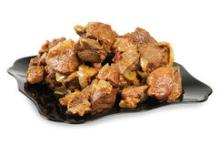 Stew With Onions On A Plate. Royalty Free Stock Photography