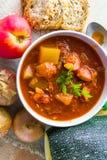 Stew zucchini stewed vegetables meat food meal vintage Stock Image