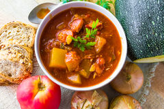 Stew zucchini stewed vegetables meat food meal vintage Stock Photography