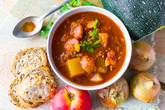 Stew zucchini stewed vegetables meat food meal vintage Royalty Free Stock Photography
