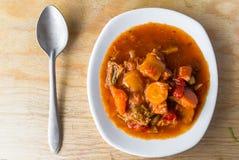 Stew zucchini stewed vegetables meat food meal vintage Stock Images