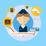 Steward Airport Crew Icon Stock Photography