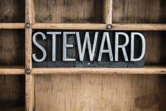 Steward Concept Metal Letterpress Word en cajón fotos de archivo libres de regalías