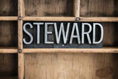 Steward Concept Metal Letterpress Word im Fach Lizenzfreie Stockfotos