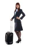 Steward die zich met de bagage bevindt stock fotografie