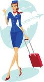 Steward (hôtesse de l'air) avec la valise Image libre de droits