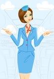 Steward (hôtesse de l'air) de sourire Showing Emergency Exits sur l'avion illustration stock
