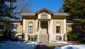 Steward House. This is a Winter picture of the Lewis Steward House in Plano, Illinois.  The house built in 1854 is an example of the Italianate style of Stock Photos