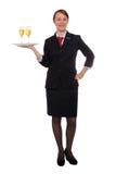 Steward (hôtesse de l'air) avec des boissons Image stock