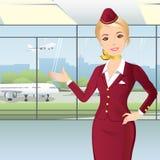 Stewardesa przy lotniskiem Zdjęcie Royalty Free