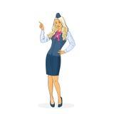 Stewardesa W Jednolitym punktu palcu W górę linii lotniczej załoga Obrazy Royalty Free