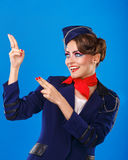 Stewardesa z twarzy sztuki przedstawieniami zbroi up Obrazy Royalty Free