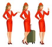 Stewardess в красной форме Сопровождающие лица летания, стюардесса Стоковые Изображения RF