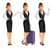 Stewardess в черной форме Сопровождающие лица летания, стюардесса Стоковые Фото