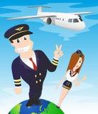 Stewardess и пилот самолета Стоковое Изображение