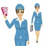 Stewardess одел в голубой форме держа билеты и идя с портфелем иллюстрация вектора