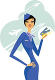 Stewardess. Air hostess holding two tickets to the flight Royalty Free Stock Photos