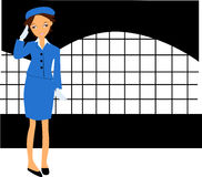 Stewardess. The  image of the stewardess in a uniform Royalty Free Stock Photography