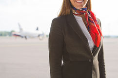 Stewardess on the airfield. Stock Image