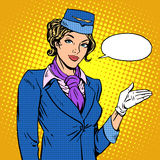 Stewardess airline invites you to Board Stock Images
