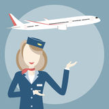 Stewardess and Airplane royalty free illustration